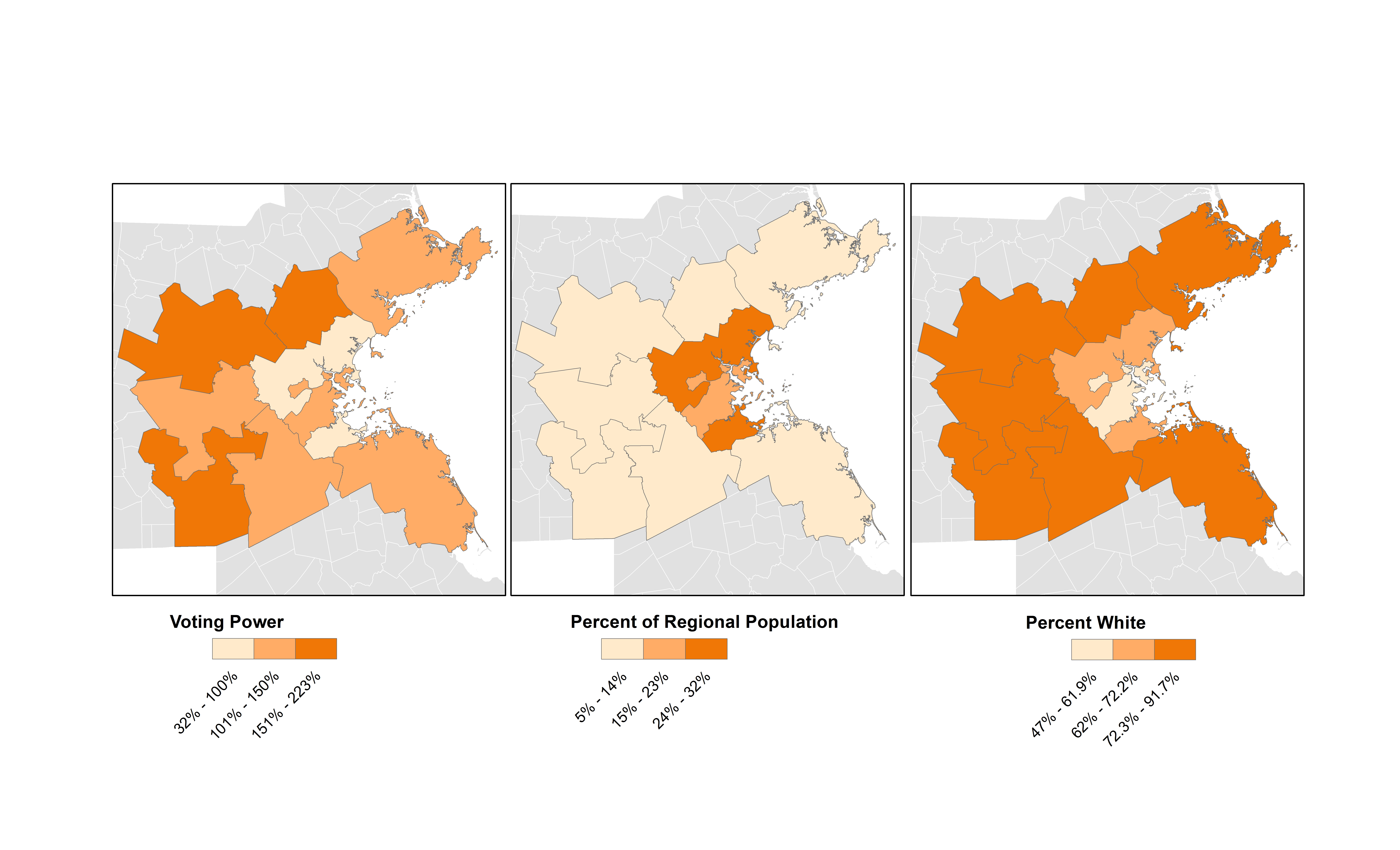 GIS and stastical analysis of representation on the Boston-area transportation planning organization revealed that the suburbs had the most voting power (darker oranges in left map) and represented the least percentage of the total population (lighter orange in middle map) and were more heavily white (dark orange, right map). Courtesy of Marcos Luna, Salem State University.